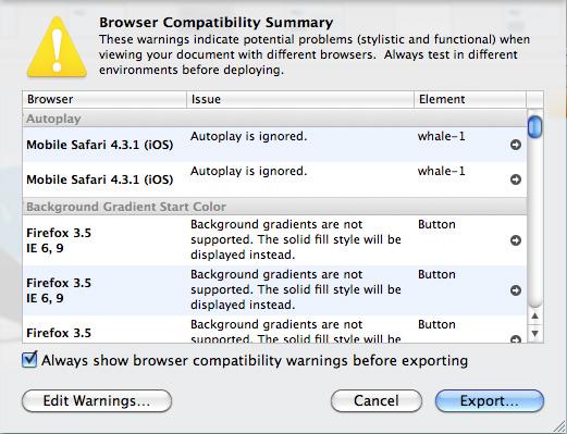 Warnmeldung zu Kompatibilitätsproblemen
