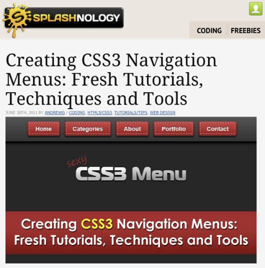Liste von Tutorials zum Thema Navigationsmenü mit CSS3