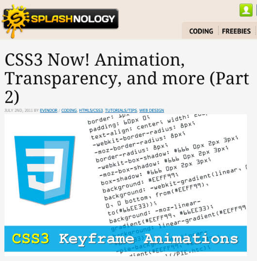 Splashnology CSS3 Keyframe Animations