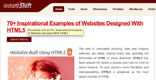 70+ Inspirational Examples of Websites Designed With HTML5