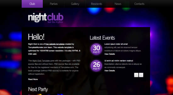 nightclub 7 kostenlose HTML5 WordPress Themes